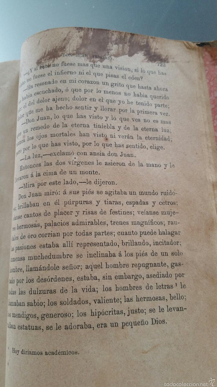 Libros antiguos: DON JUAN TENORIO - TOMO I y II- 1883 - 22CM X 15´5CM - 2 LAMINAS DE DIBUJO A COLOR - Foto 10 - 53885649