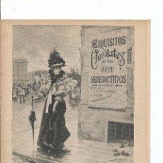 Libri antichi: 1897 - PUBLICIDAD - 3 ANUNCIOS DE CHOCOLATES - RR. PP. BENEDICTINOS COMPAÑÍA COLONIAL MATÍAS LÓPEZ. Lote 56089888