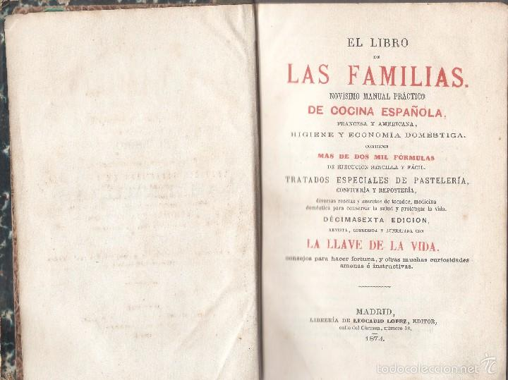Libros antiguos: EL LIBRO DE LAS FAMILIAS. MANUAL PRÁCTICO DE COCINA - LEOCADIO LÓPEZ EDITOR, 1874 - Foto 3 - 56308745