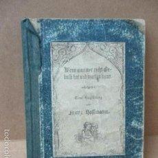 Libros antiguos: WENN MAN NUR RECHT GEBULT HAT! FRANZ HOFFMAN - 1865 - CON ILUSTRACIONES B/N DE CAZA (VER FOTOS). Lote 56327051