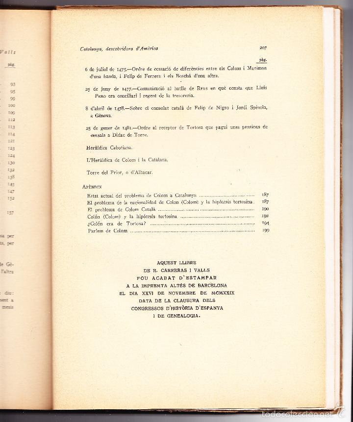 Libros antiguos: CATALUNYA DESCOBRIDORA DAMERICA 1929 R CARRERAS VALLS - Foto 4 - 56473875