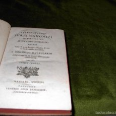 Libros antiguos: INSTITUTIONES JURIS CANONICI. AÑO 1796. Lote 56527649