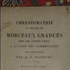 Libros antiguos: CHRESTOMATHIE OU RECUEIL DE MORCEAUX GRADUÉS. A.-F. MANOURY. 1914.. Lote 56531060