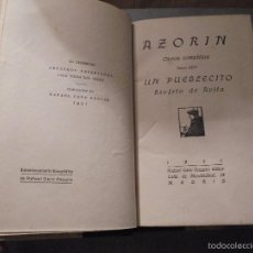 Libros antiguos: AZORIN - UN PUEBLECITO RIOFRIO DE AVILA - OBRAS COMPLETAS TOMO XVII - 1921 RAFAEL CARO RAGGIO EDT. . Lote 56636033