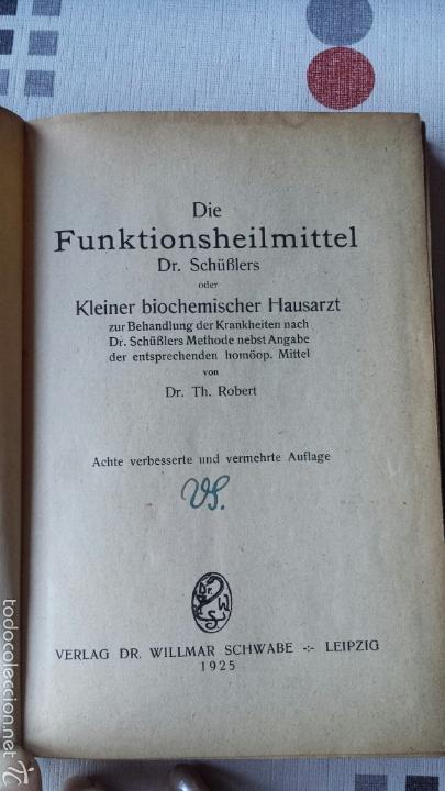 Libros antiguos: En alemán Die Funktionsheilmittel Dr. Schüßlers oder Kleiner biochemischer Hausarzt 1925 - Foto 2 - 56744659