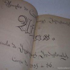 Libros antiguos: LIBRO TAPAS DE PIEL...APUNTES DE CONSTRUCCIONES INDUSTRIALES..AÑO. 1.885-86.....TODO GRABADOS.. Lote 56820390
