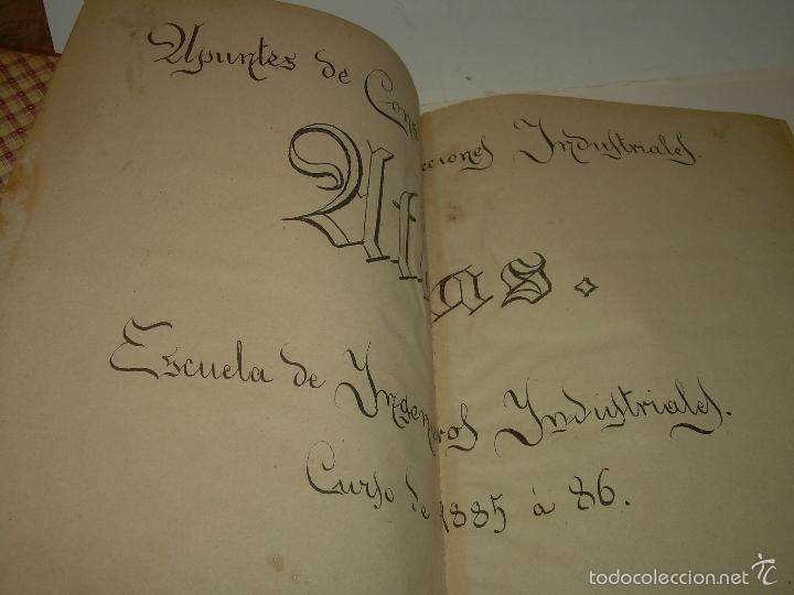 Libros antiguos: LIBRO TAPAS DE PIEL...APUNTES DE CONSTRUCCIONES INDUSTRIALES..AÑO. 1.885-86.....TODO GRABADOS. - Foto 2 - 56820390