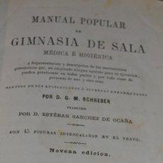 Libros antiguos: MANUAL POPULAR DE GIMNASIA DE SALA MÉDICA E HIGIÉNICA .G.M. SCHREBER, BAILLY BAILLIERE. MADRID 1880 . Lote 56830712