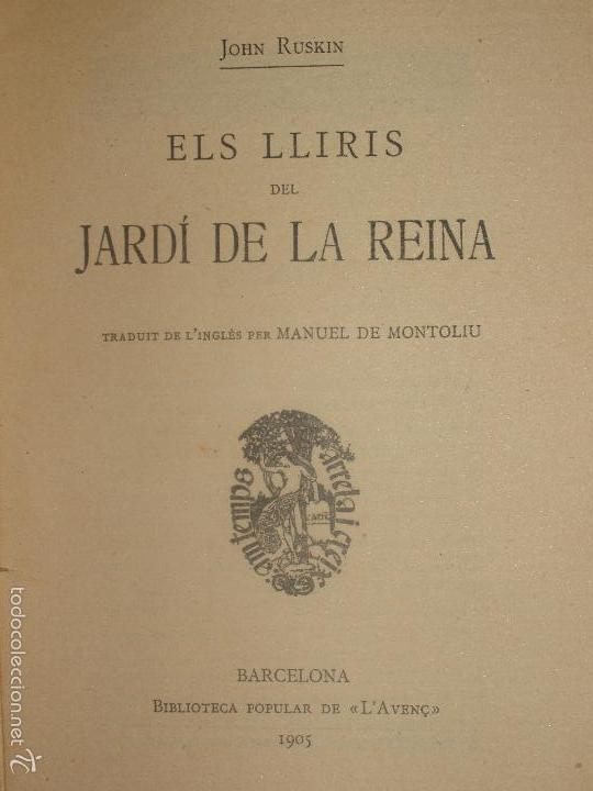 Libros antiguos: BIBLIOTECA POPULAR DE LAVENÇ. ELS LLIRIS DEL JARDÍ DE LA REINA. 1905. Nº 45 - Foto 2 - 56839051