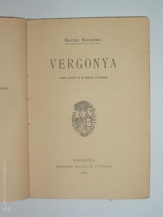 Libros antiguos: BIBLIOTECA POPULAR DE LAVENÇ. VERGONYA, DE MANUEL ROCAMORA. 1905. Nº44 - Foto 2 - 56839059