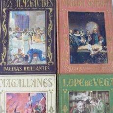 Libros antiguos: LOTE CUATRO LIBROS LOS GRANDES HOMBRES ARALUCE1935 ILUSTRADOS PAGINAS BRILLANTES. Lote 57095082