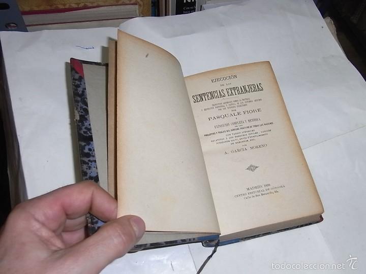 PASQUALE FIORE, EJECUCION DE SENTENCIAS EXTRANJERAS, MADRID,1898 (Libros Antiguos, Raros y Curiosos - Literatura - Otros)