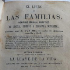 Libros antiguos: LIBRO DE LAS FAMILIAS. COCINA RECETAS, VINO SERVICIO MESA. HIGIENE MEDICINA CASERA MADRID 1857. Lote 57126106