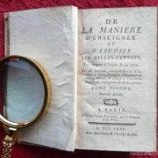 Libros antiguos: RARO. LA MANIERE D´ENSEIGNER ET D´ETUDIER LES BELLES LETTRES. M. ROLLIN. TOMO II PARIS. 1775. Lote 57186767