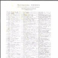 Libros antiguos: CATALOGO NUMERADO DE LA COLLECCION CRISOL. AGUILAR. Lote 57206526