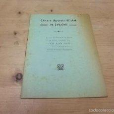 Libros antiguos: 3409.-PROYECTO DE TRAIDA DE AGUAS PARA ABASTECER BARCELONA-CAMARA AGRICOLA OFICIAL DE SABADELL. Lote 57226161
