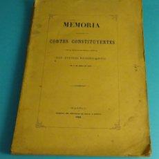 Libros antiguos: MEMORIA PRESENTADA A LAS CORTES CONSTITUYENTES. MINISTRO GRACIA Y JUSTICIA D. ANTONIO ROMERO ORTIZ. Lote 57239895