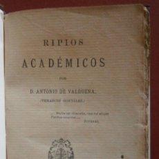 Libros antiguos: RIPIOS ACADÉMICOS. ANTONIO DE VALBUENA. Lote 57269499