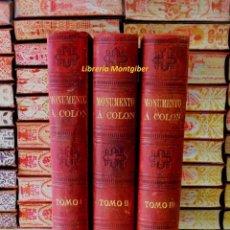 Alte Bücher - MONUMENTO A COLON . HISTORIA DE LA VIDA Y VIAJES DE CRISTÓBAL COLON . 3 Vols . - 57272033