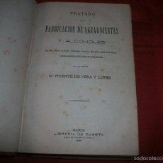 Libros antiguos: TRATADO DE LA FABRICACIÓN DE AGUARDIENTES Y ALCOHOLES - VICENTE DE VERA Y LÓPEZ - AÑO 1885. Lote 57274659