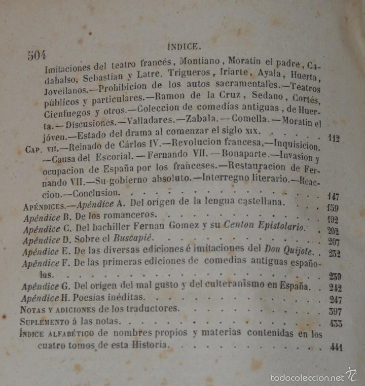 Libros antiguos: Historia de la Literatura Española - Tomo IV - M. G. Ticknor - Madrid 1856. PASTA ESPAÑOLA MUY BUENA - Foto 10 - 57391034