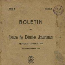 Libros antiguos: BOLETIN DEL CENTRO DE ESTUDIOS ASTURIANOS. 1924. AÑO I. Nº 3. ASTURIAS. Lote 57449963