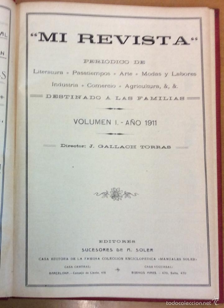 Libros antiguos: MI REVISTA. DEL AÑO 1911 al 1919. 9 AÑOS COMPLETOS. ENCUADERNACION ORIGINAL. - Foto 4 - 57489627