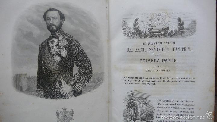 Libros antiguos: HISTORIA MILITAR Y POLÍTICA DEL GENERAL DON JUAN PRIM... FRANCISCO GIMENEZ Y GUITED. 2 VOLS. 1860. - Foto 3 - 57505637