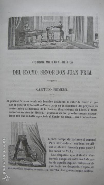 Libros antiguos: HISTORIA MILITAR Y POLÍTICA DEL GENERAL DON JUAN PRIM... FRANCISCO GIMENEZ Y GUITED. 2 VOLS. 1860. - Foto 6 - 57505637