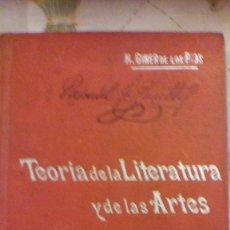 Libros antiguos: TEORIA DE LA LITERATURA Y DE LAS ARTES, POR H. GINER DE LOS RIOS - MANUALES SOLER Nº 83. Lote 57559224