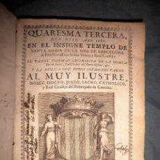 Libros antiguos: QUARESMA TEMPLO SANTA MARIA DEL MAR DE BARCELONA - AÑO 1683 - PERGAMINO.. Lote 57630186