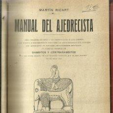 Livres anciens: MANUAL DEL AJEDRECISTA. MARTÍN RICART. 5ª EDICIÓN. LIBRERÍA DE FRANCICO PUIG. BARCELONA. 1925. Lote 57641317