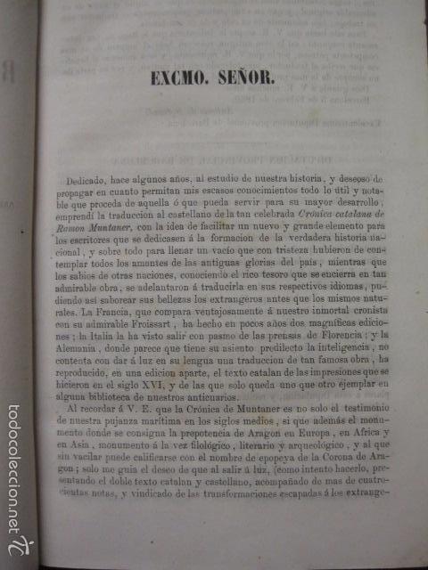 Libros antiguos: CRONICA CATALANA RAMON MUNTANER-ANTONIO BOFARULL-JAIME JEPUS -BARCELONA 1860- VER FOTOS-(XL-17 - Foto 3 - 57644028