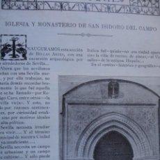Libros antiguos: IGLESIA Y MONASTERIO DE SAN ISIDORO DEL CAMPO SEVILLA 11 PG.AÑO 1914. Lote 57644295