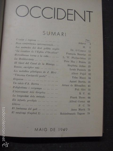 Libros antiguos: OCCIDENT - REVISTA CATALANA EN EL EXILIO-MAIG 1940 A MAIG 1950-DIBUJO DE DALI -VER FOTOS -(XL-20) - Foto 2 - 57654974