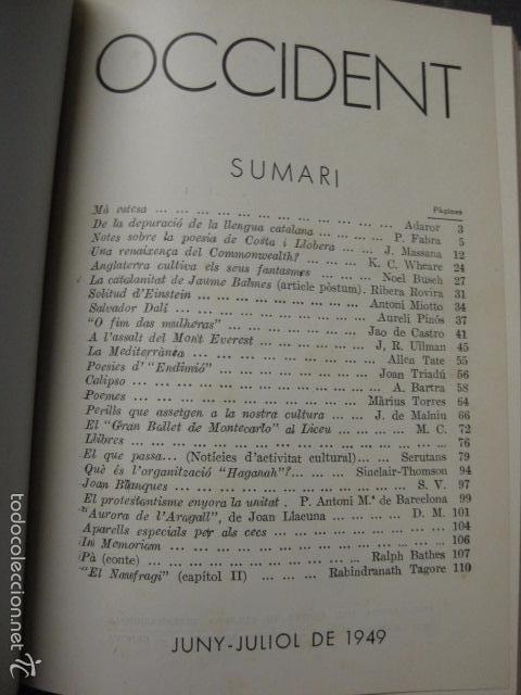 Libros antiguos: OCCIDENT - REVISTA CATALANA EN EL EXILIO-MAIG 1940 A MAIG 1950-DIBUJO DE DALI -VER FOTOS -(XL-20) - Foto 4 - 57654974
