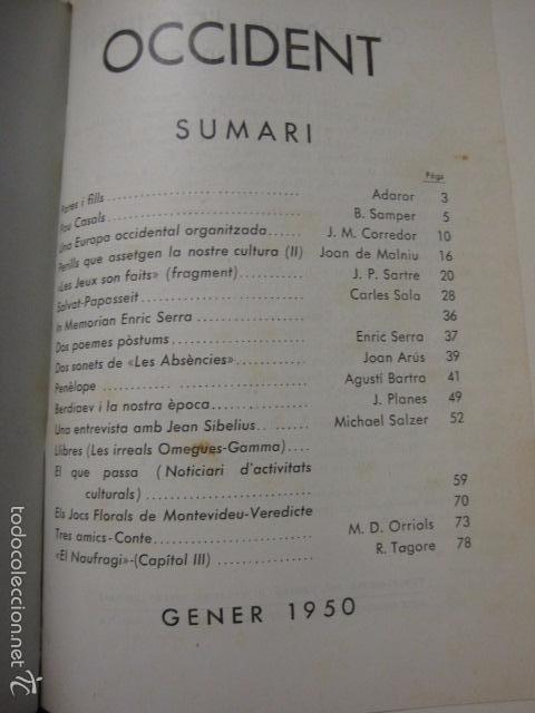 Libros antiguos: OCCIDENT - REVISTA CATALANA EN EL EXILIO-MAIG 1940 A MAIG 1950-DIBUJO DE DALI -VER FOTOS -(XL-20) - Foto 8 - 57654974