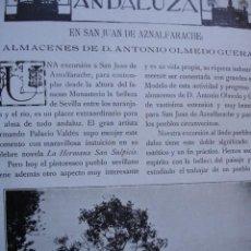 Libros antiguos: SAN JUAN DE AZNALFARACHE Y LOS ALMACENES DE ANTONIO OLMEDO SEVILLA 5 PG.AÑO 1914. Lote 57658860