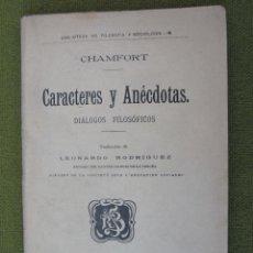 Libros antiguos: CARACTERES Y ANECDOTAS - DIALOGOS FILOSOFICOS - DEDICATORIA MANUSCRITA A D. JOSE CANALEJAS.. Lote 57727355