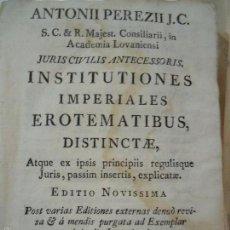 Libros antiguos: 1776 LIBRO EN PERGAMINO DE ANTONII PEREZII JC. INST. IMPERIALES. Lote 57791802
