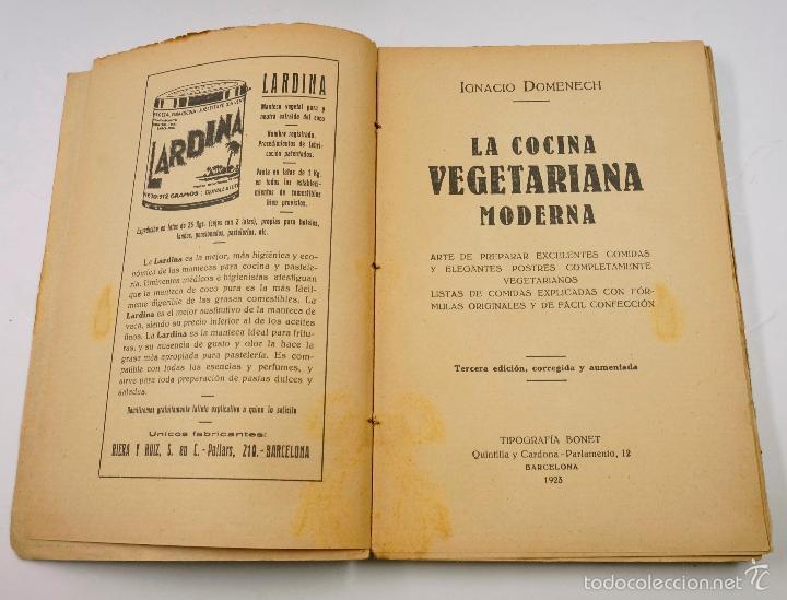 Libros antiguos: LA COCINA VEGETARIANA, IGNACIO DOMENECH. BARCELONA 1923, 13X18 CM. - Foto 2 - 57855532