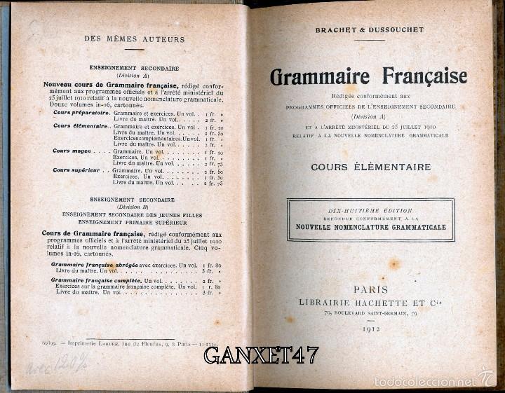 Libros antiguos: GRAMMAIRE FRANCESES COURS ELEMENTAIRE, BRACHET ET DUSOUCHET, 1912, CARTONÉ 12X18CM 192 PAG - Foto 4 - 57876440