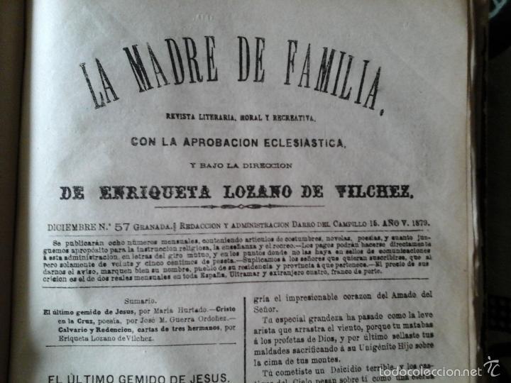 LA MADRE DE FAMILIA. ENRIQUETA LOZANO VILCHEZ, 1879. AÑO COMPLETO. LITERATURA, MUJER, HISTORIA, XIX (Libros Antiguos, Raros y Curiosos - Pensamiento - Otros)