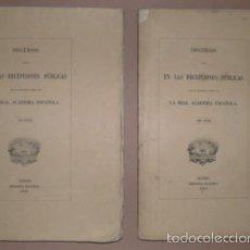 Libros antiguos: DISCURSOS LEÍDOS DESDE 1847 EN LA REAL ACADEMIA ESPAÑOLA. TOMOS 1º Y 2º. Lote 39056790