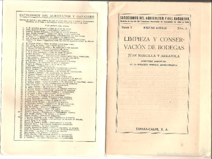 Libros antiguos: CATECISMO DEL AGRICULTOR Y DEL GANADERO Nº 67 - LIMPIEZA Y CONSERVACIÓN DE BODEGAS POR JUAN MARCILLA - Foto 2 - 57988084