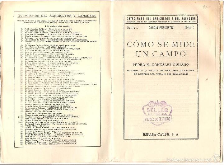 Libros antiguos: CATECISMO DEL AGRICULTOR Y DEL GANADERO Nº 1 - COMO SE MIDE UN CAMPO POR PEDRO M. GONZÁLEZ - Foto 2 - 57988206