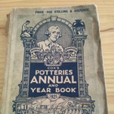 Libros antiguos: COX'S POTTERIES ANNUAL AND YEAR BOOK 1925. PUBLISHERS & ADVERTISERS LD LIVERPOOL. Lote 58078500