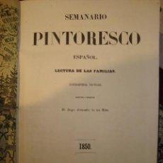 Libros antiguos: PRECIOSO TOMO ENCUADERNADO SEMANARIO PINTORESCO ESPAÑOL , AÑO 1850 CON MUCHOS GRABADOS. Lote 58106598
