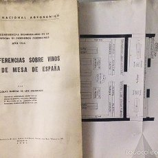 Libri antichi: GARCÍA DE LOS SALMONES: DOS CONFERENCIAS SOBRE VINOS Y UVAS DE MESA DE ESPAÑA. 1935.. Lote 58130912