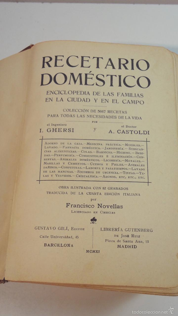 Libros antiguos: RECETARIO DOMESTICO-GHERSI-CASTOLDI-GUSTAVO GILI-1911 - Foto 3 - 58188954